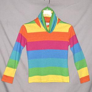 Vintage 1970s Rainbow Brite Stripe Cowl Neck Top S